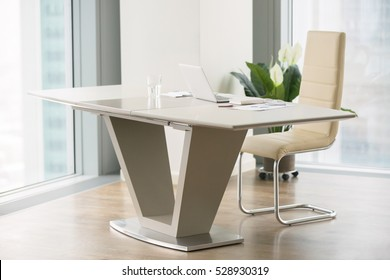 Modern apartment with full length windows, white office desk, dream job, empty office, break for lunch, cleaning service, office manager's duties, future profession, retired, company without boss