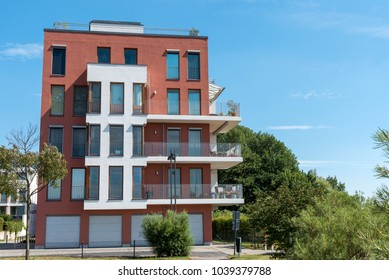 Modern apartment house in a new housing development area in Berlin, Germany