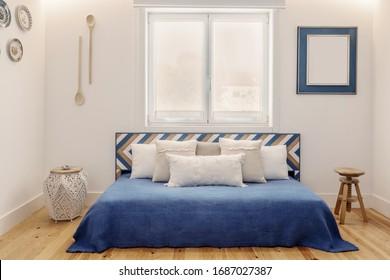 Modernes Apartment-Design in blauen Farben, kleines und gemütliches Schlafzimmer mit Küche im portugiesischen Stil