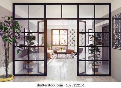 modern apartment interior. glass partition 3d concept