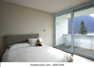 modern apartment interior view, bedroom
