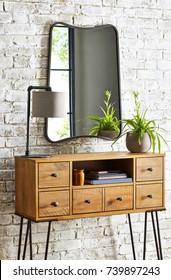 Modern apartment interior with wood wardrobe
