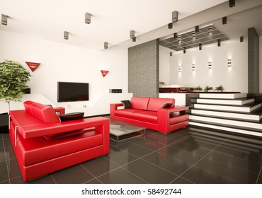 Modern apartment with living room and bedroom interior 3d render