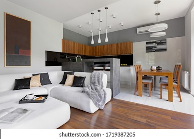 Modern apartment with living room and kitchen with dining table in one space