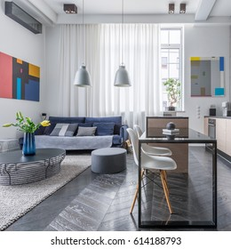 Modern apartment with living room and open kitchen