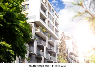 Modern apartments with green areas around