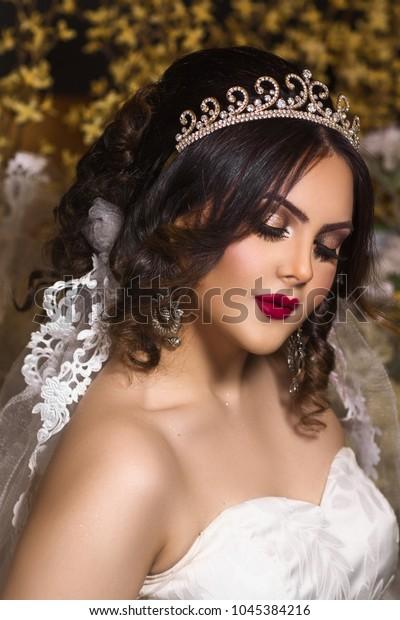 Modern Arab Wedding Look Beautiful Middle Beauty Fashion Stock Image