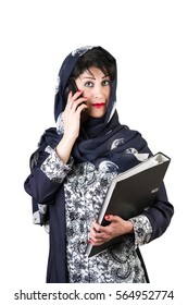 Modern arabian woman with mobile phone and folder