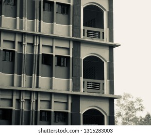 A modern architectural building unique black and white photo