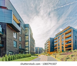 Modern architectural complex of apartment residential buildings. And outdoor facilities.