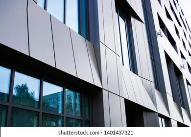 Modern architectural details. Dark metallic facad.