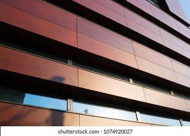 Modern architectural details. The facade of a modern, European building