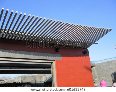 modern architectural style roof chinese building stock photo edit