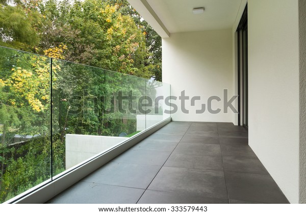 Modern architecture, balcony of a new apartment