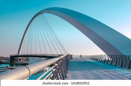 Modern Architecture Bridge Dubai Water canal Tolerance Bridge new attraction of United Arab Emirates, famous bridge architecture design