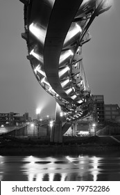 Modern architecture of bridge in night in black and white, landmark in Taipei, Taiwan.