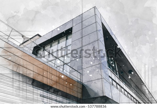 Modern architecture building background. Line and watercolor painting