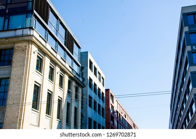 Modern architecture buildings and blue sky at Sulzer Areal Winterthur, Switzerland