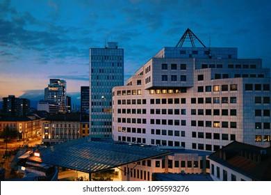 Modern architecture of buildings in Ljubljana, Slovenia in the evening