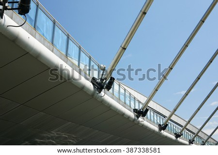 Modern Architecture Design Pedestrian Bridge Taman Stock