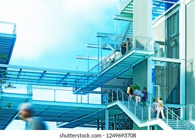 Modern architecture detail.Facade and stair structure.Cement and steel.Generic urban building.