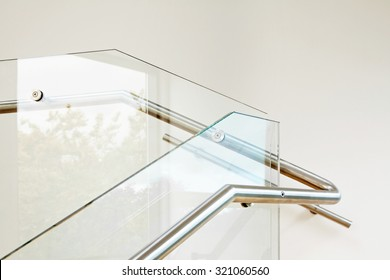 Modern architecture interior with elegant glass balustrade