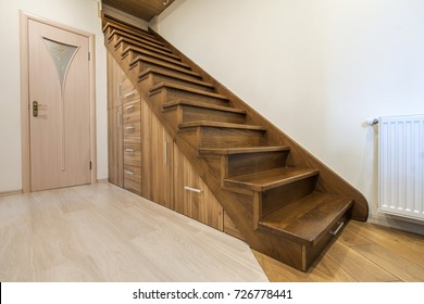 modern architecture interior with luxury hallway with glossy wooden stairs in modern storey house custom - Wooden Stairs
