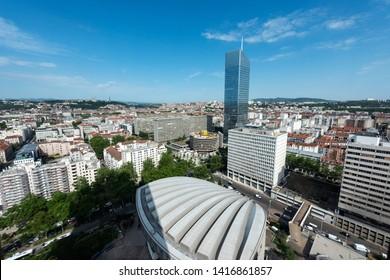 Modern architecture of Lyon. Lyon, Rhone-Alpes, France