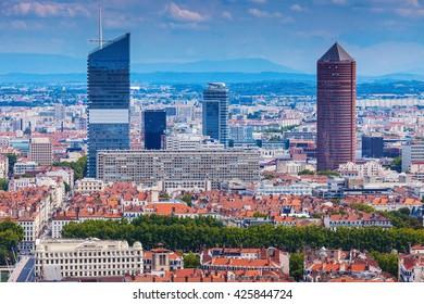 Modern architecture of Lyon. Lyon, Rhone-Alpes, France.