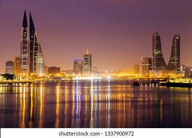 Modern architecture of Manama at night. Manama, Bahrain.