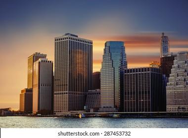 Modern architecture of Manhattan. Sunset in New York City.