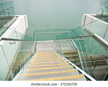Modern architecture with marble stairs.