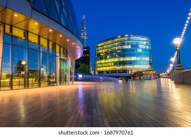 Modern architecture of more London riverside near city hall at dawn: London,England-March 2020