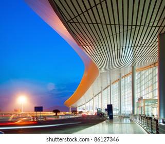 Modern architecture at night, China Shanghai pudong airport.