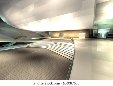 modern architecture rendered, interior of hall
