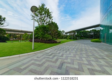 Modern architecture and road