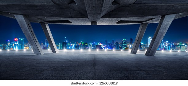 Modern architecture rooftop with night view cityscape
