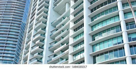 Modern Architecture. Skyscrapers. Miami downtown. Buildings. Skyline. Urban landscape. USA. Florida. Miami - January 18, 2020