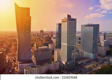 Modern architecture - skyscrapers at sunset, aerial panorama of Warsaw downtown, Poland