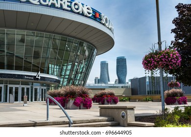 Modern Architecture of Square One Shopping Mall in Mississauga with the Twin Towers of Absolute Condos in the Background: Square One, 100 City Centre Dr, Mississauga, ON L5B 2C9 - August 2017