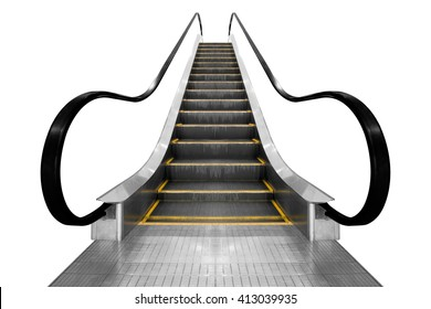 Modern architecture stair escalator isolated on white background with clipping path