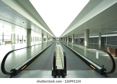 modern architecture steps of moving business escalator