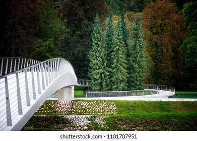 Modern Architecture Style Bridge On the River Bank and City Park in Celje Slovenia