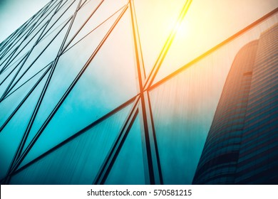Modern architecture with sun ray from right corner