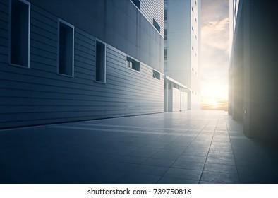 Modern architecture at sunrise