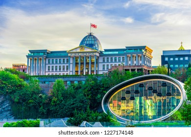 Modern architecture of Tbilisi, Georgia with presidential palace.