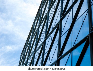 Modern architecture tone in blue tone, fragment architecture, modern architecture, the glass facade of the building