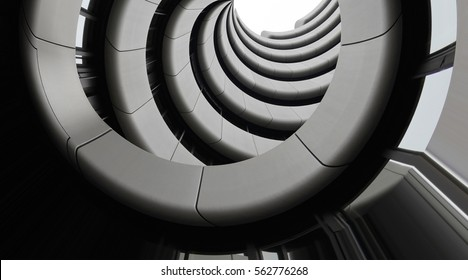 Modern architecture. Underside view of curvilinear balconies. Public or office building exterior fragment. Modular architectural structures. Industry or technology motif.
