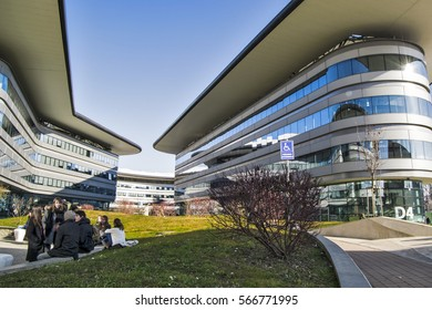 Modern architecture of University Campus in Turin city. Italy-Turin 23 January 2017