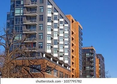 Modern architecture of Washington DC, USA. Residential luxury apartments in downtown of US capital city.